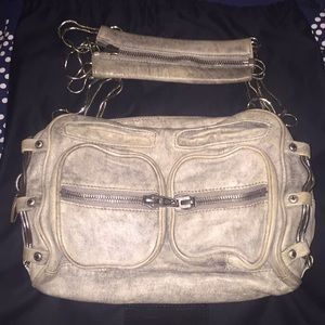 Alexander Wang Brenda gray denim leather handbag